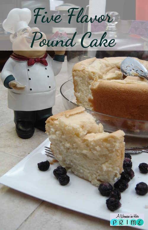 This pound cake gets its name from five flavored extracts. This is one moist and delicious cake! Did I mention that it freezes like a dream?  http://www.awomaninherprime.com/best-pound-cake-youll-ever-eat-moist/