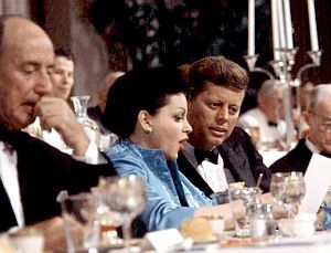 July 10, 1960: Hollywood star Judy Garland, center, flanked by Adlai Stevenson and JFK during  fundraising event at the Beverly Hilton Hotel in L.A. during the DNC.