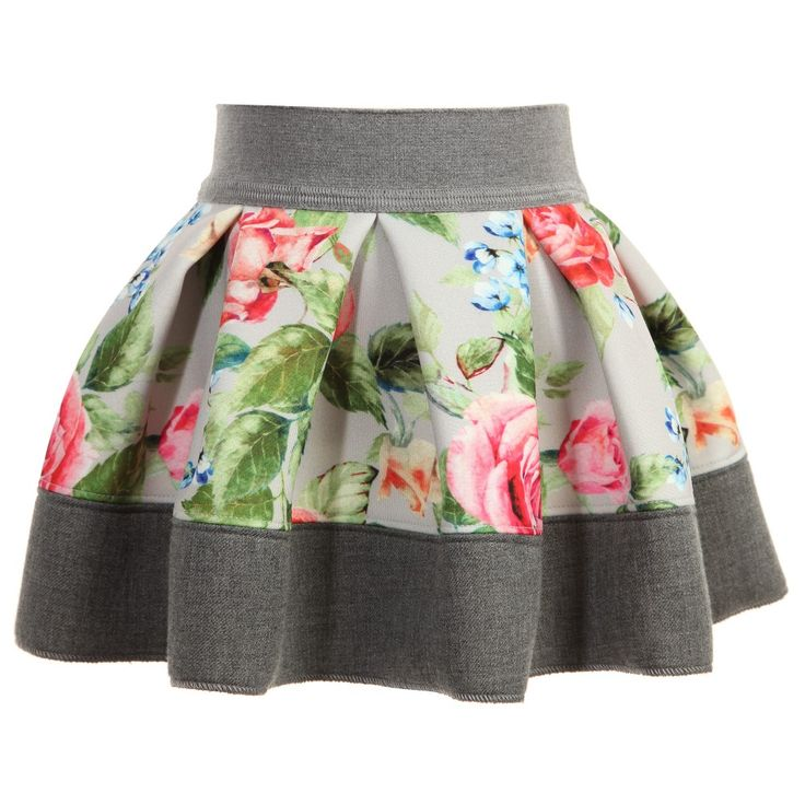 Monnalisa Bebe girls grey skirt made from soft, lightweight neoprene jersey with a smooth feel and a beautiful all over floral print. With an elastic waistband, it has a wide hem and soft pleats all around creating a full, girly shape.