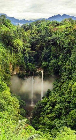 tibu bombong waterfall in santong village, one of many waterfall in lombok island,west nusa tenggara