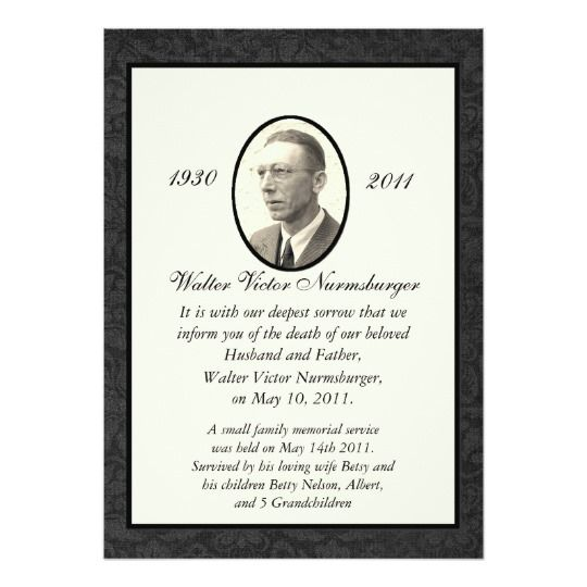 27 best Memorial Announcements images on Pinterest Card patterns - funeral service announcement template