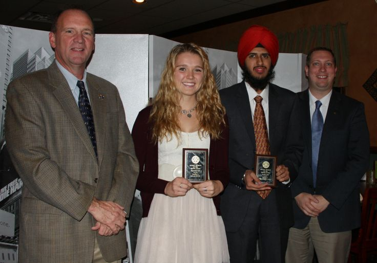 The Pennridge-Perkasie Rotary Club named Pennridge High School seniors Sarah Fetter and Uddampreet Arora as its Student of the Month for September and October, respectively. From left: Neil Fosbenner, of the Pennridge-Perkasie Rotary Club, Sarah Fetter, Uddampreet Arora and Paul Lorenz, president of the Pennridge-Perkasie Rotary Club.