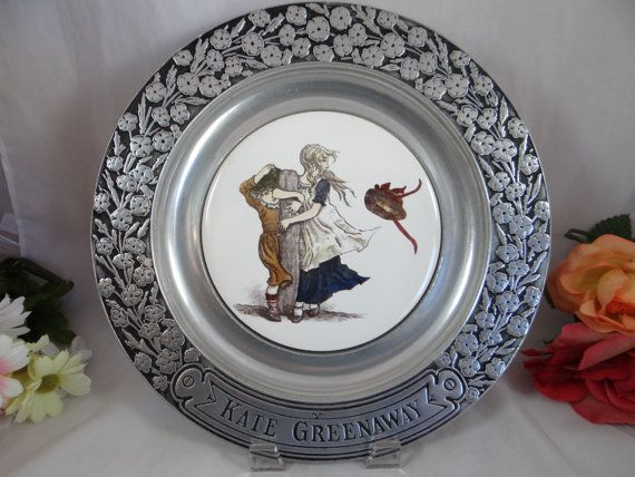 Vintage 1970s Kate Greenaway Wilton Pewter Porcelain Insert Victorian Charger Plate by SecondWindShop