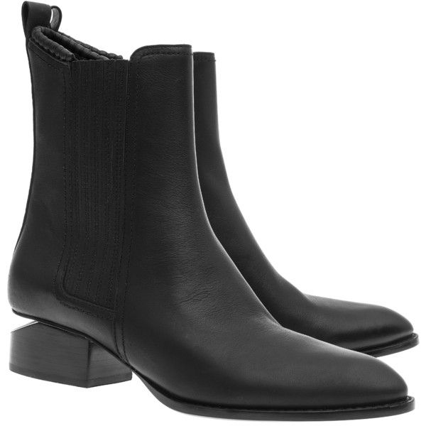 ALEXANDER WANG Anouck Black // Leather chelsea boots with cut-out heel ($415) ❤ liked on Polyvore featuring shoes, boots, ankle booties, cut out ankle booties, black chunky heel booties, chelsea boots, cut out booties and leather boots