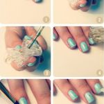 Turquoise and Gold Stone Nail Art