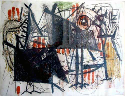 Hitler invades Poland, 1939. Estilo: Abstract Expressionism. Género: abstract painting Técnica: crayon, ink. Arshile Gorky 1904-1948, fue un pintor armenio naturalizado estadounidense y exponente del arte abstracto.Su trabajo ha evolucionado bajo muy distintas influencias, como las de Cezanne y Picasso entre otros, y luego las del surrealismo y una gran abstracción geométrica de Miró o Kandinsky.