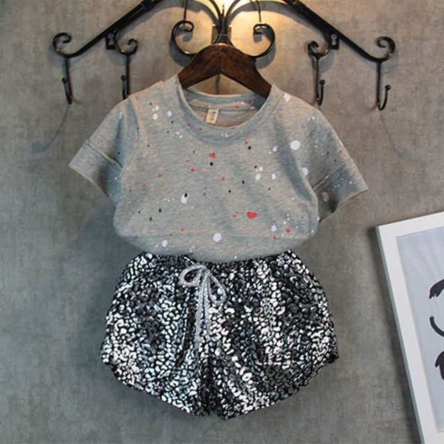 New Baby Girls Short Sleeves + Leopard Pants Set