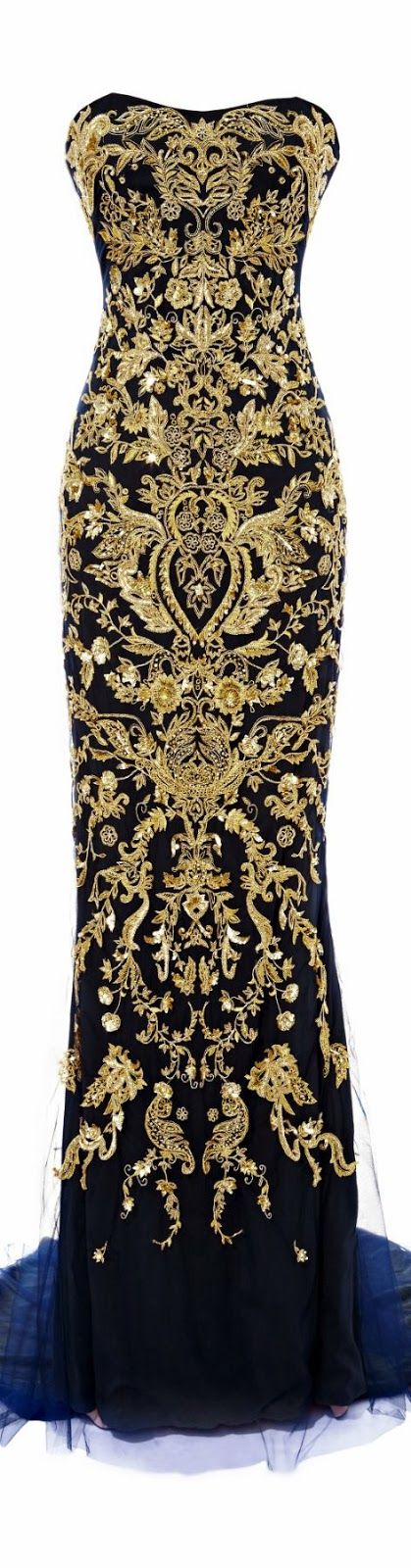 Marchesa Fishtail Gown With Ornament Embroidery. Clearly I need some Marchesa in my wardrobe..: also somewhere to wear it