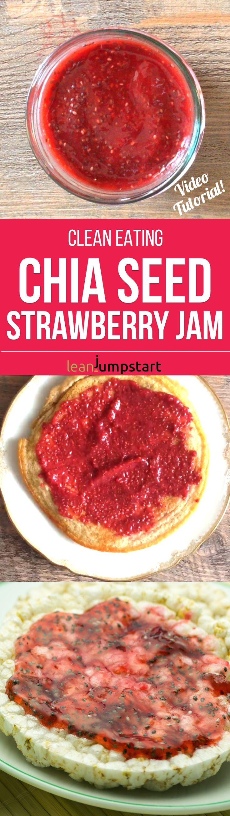 Need a sugar-free jam recipe? This clean eating strawberry chia jam is a delicious spread option for a healthy bit of deliciousness. Repin this and then click through to read about the chia seed jam and watch a short video tutorial.