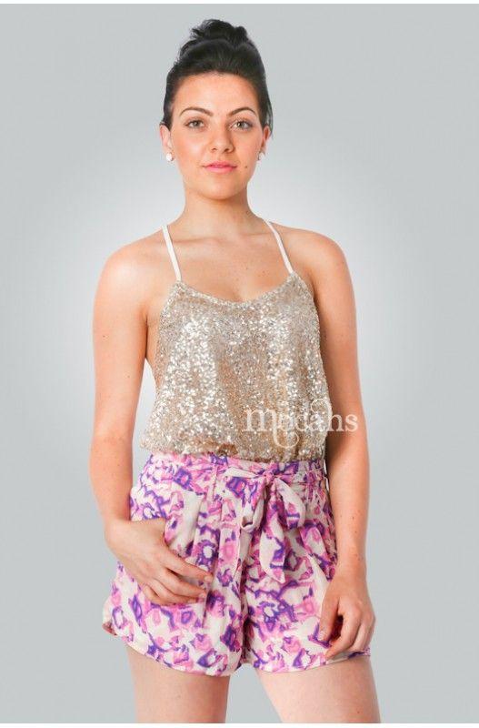 """Azalea"" Shorts- Gorgeous pink and purple design! Hidden front zip! Waist tie! Limited Stock 70% Discount. Shop Now!"