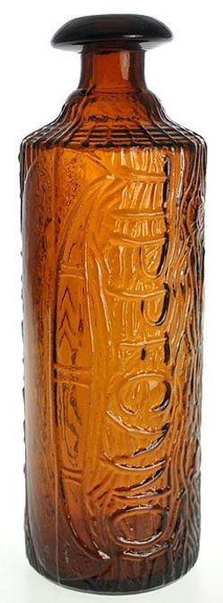 HH Warner Co, Tippecanoe, Log Shape, Yellow Amber, 1883 Patent, 9 inch.