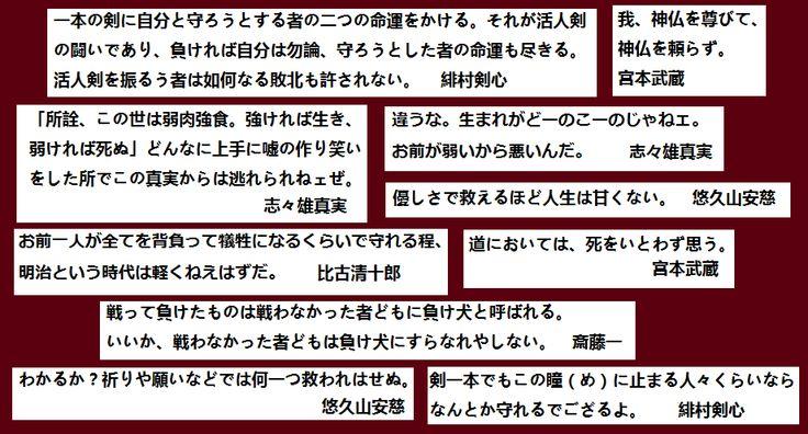 るろうに剣心/宮本武蔵 名言