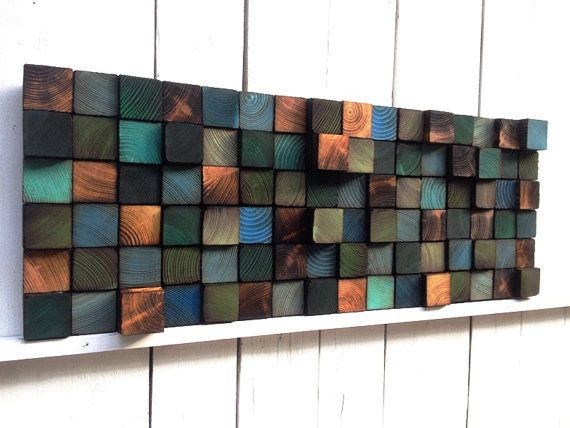 Abstract Painting on Wood Reclaimed Wood Art by WallWooden