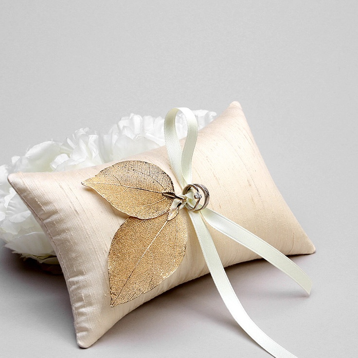 Ring Bearer Pillow - antique gold plated leaves, silk dupioni