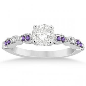 ring steel cz stainless three simulated center amethyst engagement stone rings