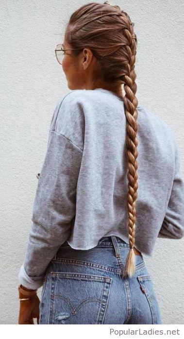 Amazing long braid and glasses