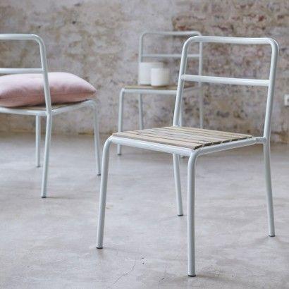 Chaise en métal et pin Bjorn