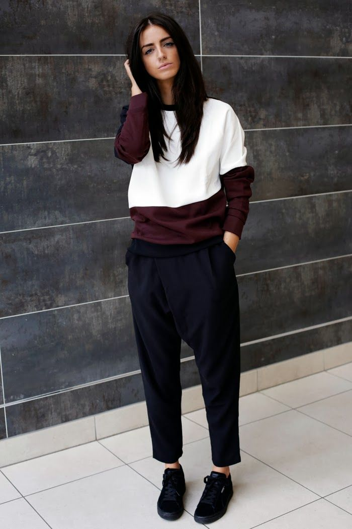 Indiarose COS sweater and cracked leather clutch, Monki trousers, Puma Suedes sneakers