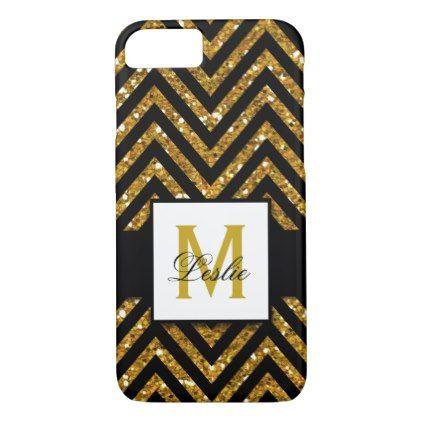 Girly Personalized Gold Glitter Chevron Pattern iPhone 8/7 Case - pattern sample design template diy cyo customize