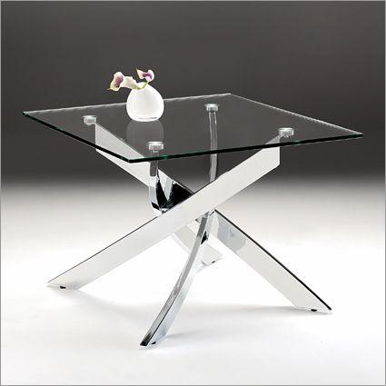 Macu0026Mac:Giorno Antico Glass Side Table, Chrome
