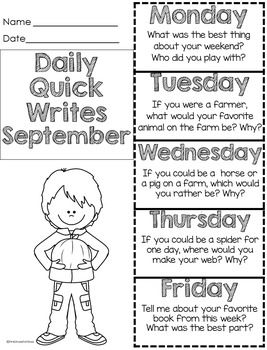Perfect fall ideas for writing. We use these as weekly quick writes writing prompts for morning work. After we spend some time working on answering in complete sentences, students are able to write one or two sentences to quickly respond to the prompts.