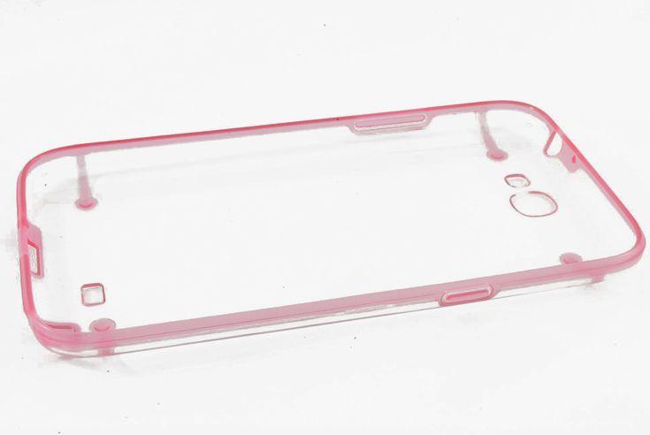 Чехол кейс прозрачная крышка, силиконовая рамка Samsung N7100 Galaxy Note 2 (розовый)  Чехол кейс прозрачная крышка, силиконовая рамка Samsung N7100 Galaxy Note 2 (розовый)