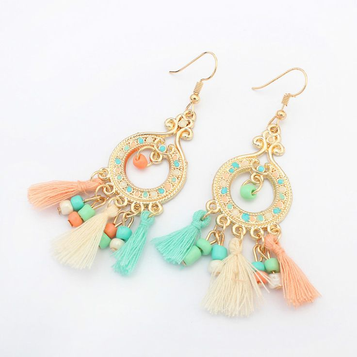 Süße candy color wolle quasten ohrringe vintage charme boho ethnische perlen baumeln ohrringe für frauen mädchen modeschmuck