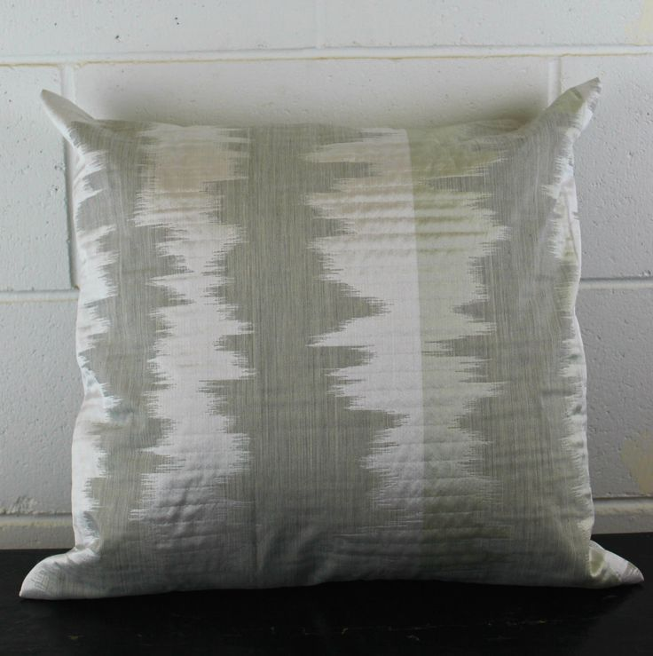 Ikat Silver, Beige, Silver Exclusive Design Cushion Pillow Cover by Peacock and Penny. 45cms x 45cms by PeacockandPenny on Etsy