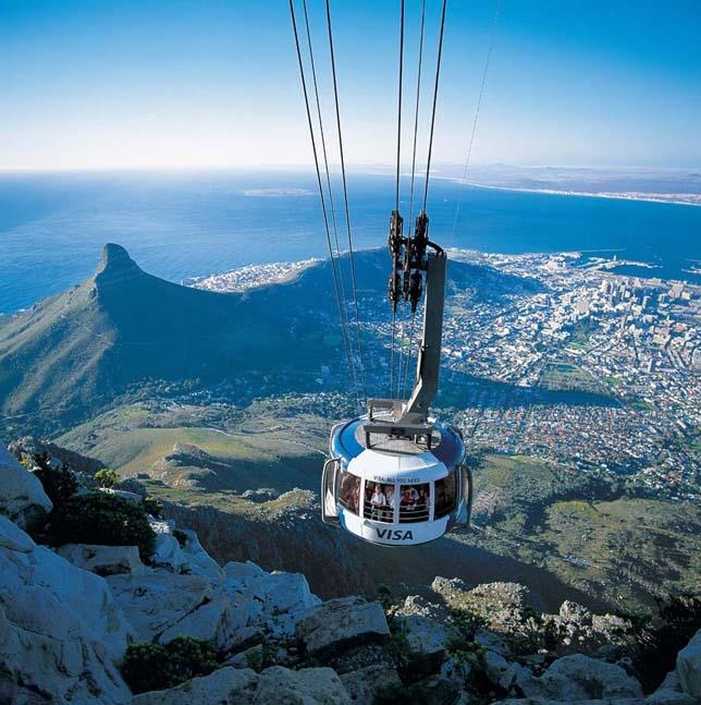 Cable Car ride up Table Mountain, Cape Town. To the left: Lions Head.