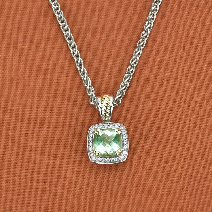 Charles Krypell Sterling Silver & 14K Yellow Gold Green Amethyst Pendant - $545.00