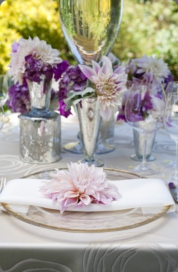Beautiful purple and silver tablescape with flowers by soulflowerMercury Glasses, Tables Sets, Floral Design, Dahlias, Purple Flowers, Silver Weddings, Green Weddings, Tables Decor, Beautiful Tablescapes