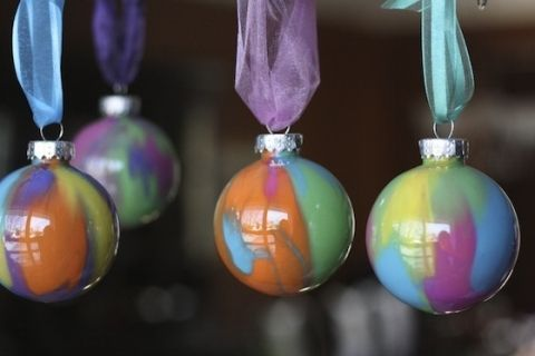 set of 4 pour-painted clear plastic ornaments