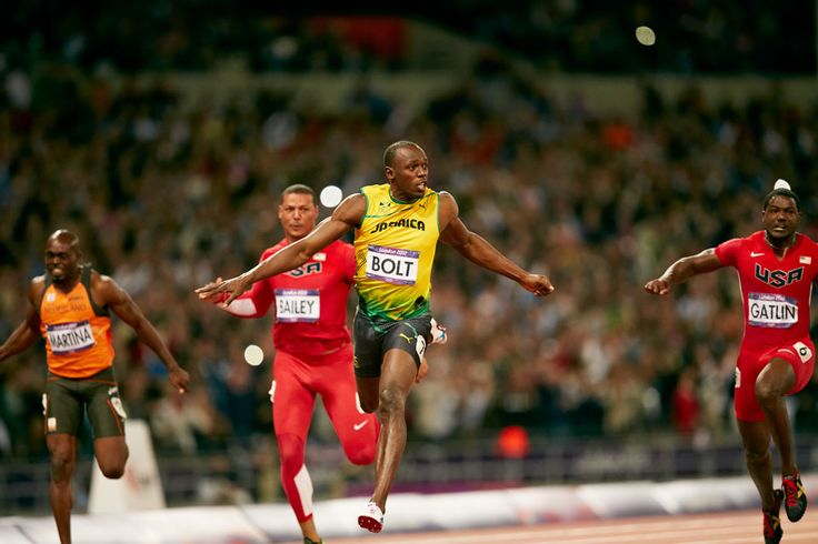 London 2012 - the dramatic moment when Usain Bolt of Jamaica crosses the finish line takes gold in the men's 100m final.