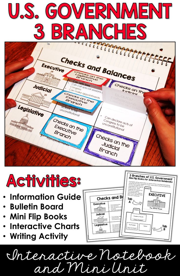 This 3 Branches of Government activity and project is fun for kids in 4th, 5th, 6th grades and middle school. Why settle for a worksheet when you can teach the three branches of government using a 3 branches of government foldable, graphic organizer, and interactive notebooks! Includes an easy to create United States Government bulletin board.