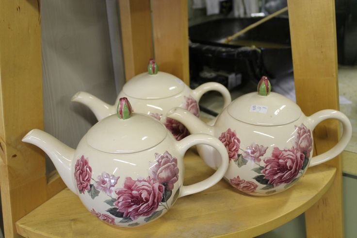 What goes best with fresh cut flowers? A cup of tea to enjoy them with...beautiful little tea pots for sale in our gift wear section.