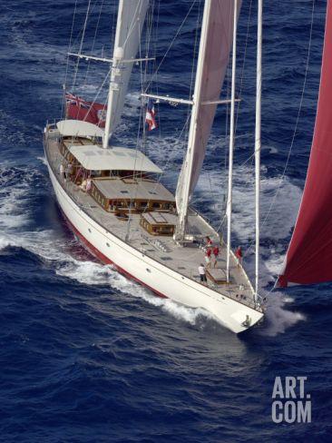 "Sy ""Adele"", 180 Foot Hoek Design, Underway Off Bora Bora Island, French Polynesia Photographic Print by Rick Tomlinson at Art.com"