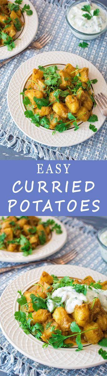 Healthy and delicious curries potatoes, stewed in coconut milk. Serve with a handful of fresh cilantro and a spoonful of yogurt!
