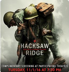 FREE Hacksaw Ridge Movie Screening Tickets (Select Locations) on http://hunt4freebies.com