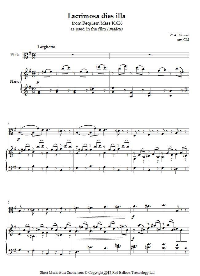 Wolfgang Amadeus Mozart - Lacrimosa dies illa from Requiem Mass K.626  sheet music for Viola