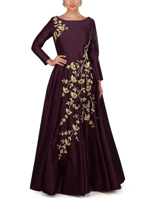 Beautiful burgundy colour silk A-line flared anarkali gown for engagement