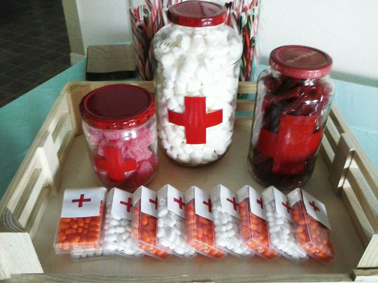 [upcycle jars] paint jar tops red and stencil Red Cross for easy medicine jars. Fill with sour gummies, marshmallows and red vines. Use labels to cover tic tac boxes.