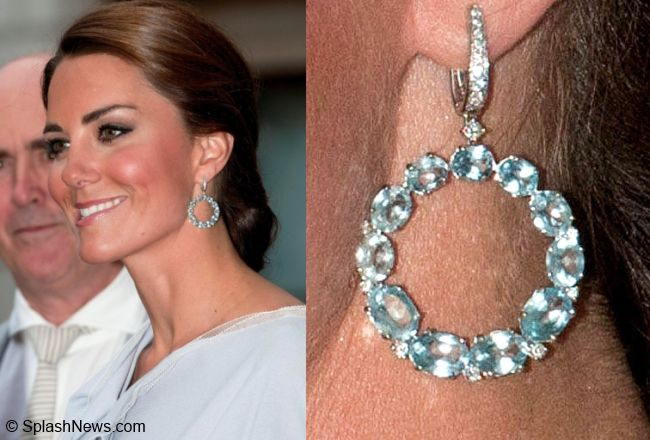 The Duchess also has a pair of blue topaz and diamond hoops by Ms. McDonough. They're very eye-catching and add youthful glamour to any look.