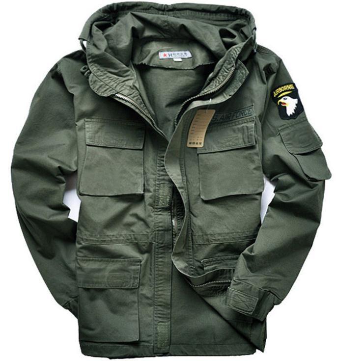 Casacos para homens de casaco com capuz eua exército militar 101 força de ar ao ar livre M65 jaqueta(China (Mainland))