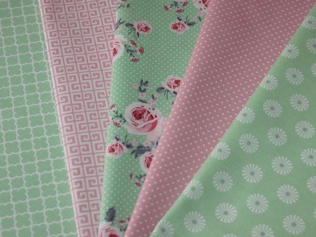 """Stoffpaket 5 Stoffe Patchwork Quiltpaket Grün Rosa aus der Serie """"ring a roses"""" von Gütermann Stoffpaket aus 5 verschiedenen Stoffen, farblich aufeinander abgestimmt Ideal für Patchwork, Quilts,..."""