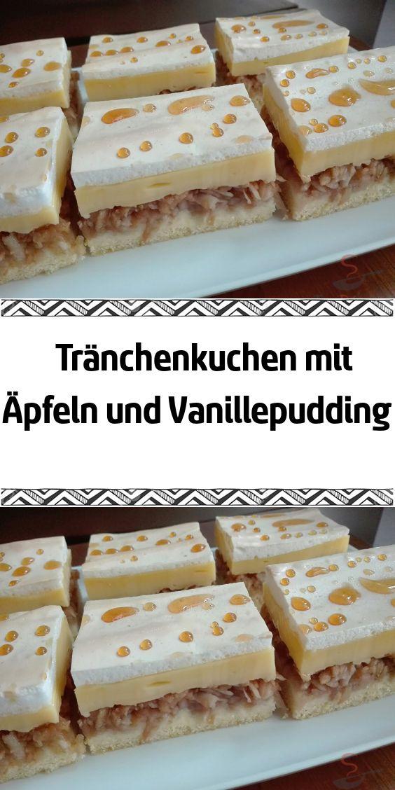 Tränchenkuchen mit Äpfeln und Vanillepudding