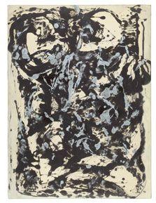 """Jackson Pollock, """"Marrón y plata I"""", c. 1951. Museo Thyssen - Bornemisza [SALA 46b] En las lejanas tierras de Nuevo México la luminosidad de sus pinturas se hizo todavía más transparente y, en ocasiones, estaba dotada de un mayor indigenismo o de un cierto simbolismo religioso. Estos rasgos indígenas caracterizaron también el trabajo de Jackson Pollock, cuya técnica del dripping procede de los rituales de los indios nativos Navajos. #ProgramaNosotras"""