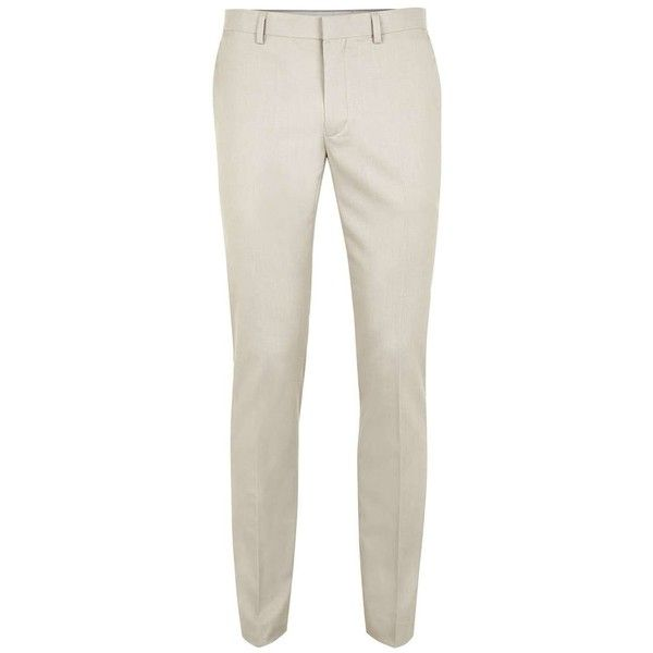 TOPMAN Stone Textured Ultra Skinny Fit Suit Trousers ($65) ❤ liked on Polyvore featuring men's fashion, men's clothing, men's pants, men's dress pants, beige, mens zipper pants, mens skinny dress pants, mens skinny fit dress pants, mens skinny suit pants and mens zip off pants