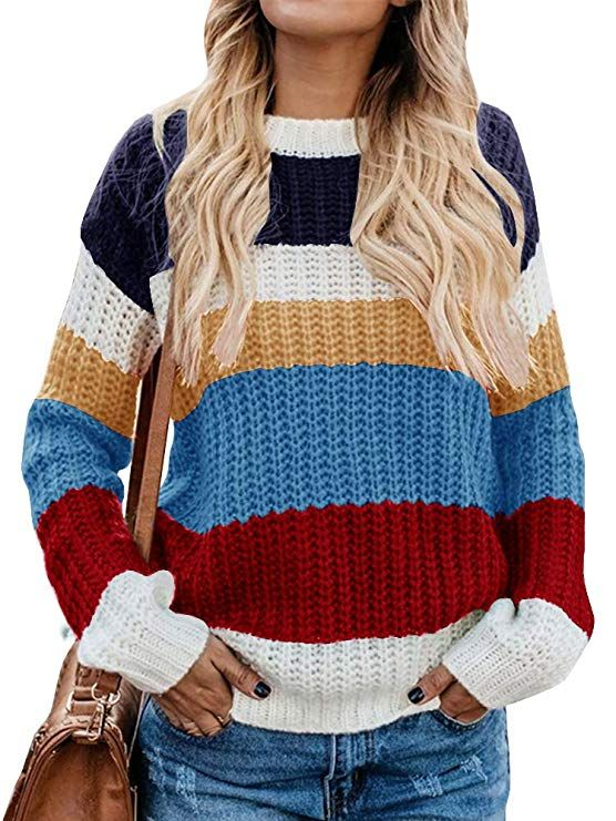 89de4d0ca Womens Color Block Oversized Sweaters Cable Knit Loose Striped ...
