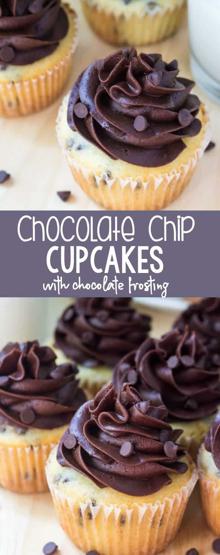 These chocolate chip cupcakes with chocolate frosting are the perfect combination of vanilla & chocolate. Fluffy, buttery vanilla cupcakes. Chocolate chips. AND chocolate buttercream.  via @ohsweetbasil