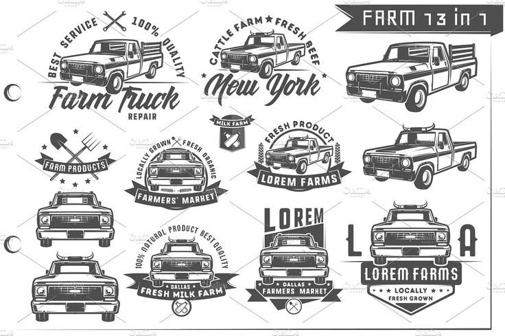 13 in 1 Set of farm truck emblems by Hadanello88 on @creativemarket